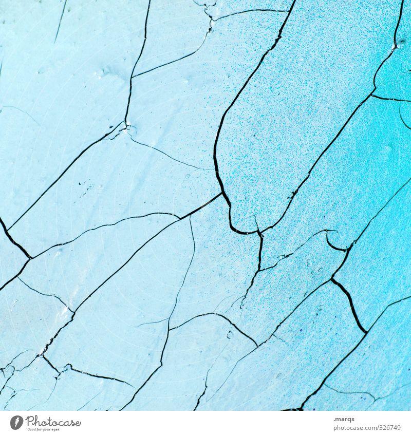 Fracture Design Mauer Wand Beton alt einfach kaputt blau Verfall Vergänglichkeit Riss Hintergrundbild Farbverlauf Farbstoff Putzfassade hell-blau Farbfoto