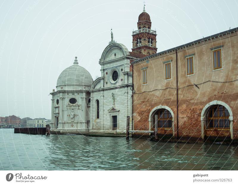 Wasserstand steigend Himmel Frühling Winter Klima Wetter schlechtes Wetter Regen Venedig Hafenstadt Altstadt Menschenleer Haus Kirche Dom Palast Turm Bauwerk