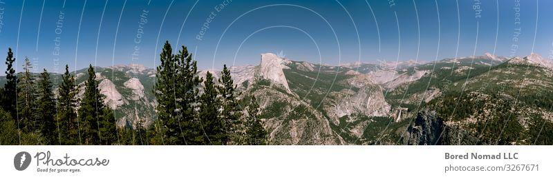 Halbkuppel-Panorama-Blick vom Glacier Point aus wandern Klettern Bergsteigen Natur Landschaft Erde Himmel Sommer Baum Sträucher Park Wald Urwald Felsen