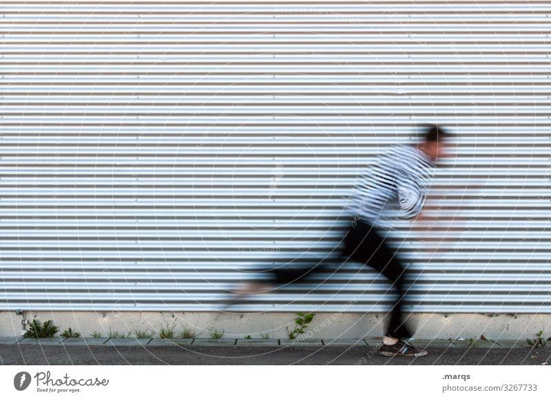 laufen Wand Streifen rennen Bewegung schnell Flucht Angst Panik flüchten Wege & Pfade Gefahr Termin & Datum struktur Metall
