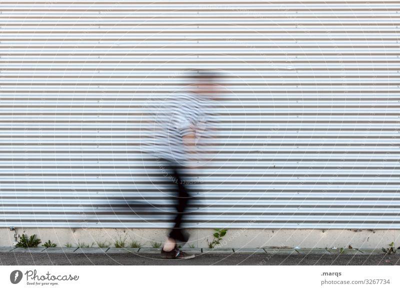 Davon Wand Streifen rennen Bewegung schnell Flucht Angst Panik flüchten laufen Wege & Pfade Gefahr Termin & Datum struktur Metall weglaufen