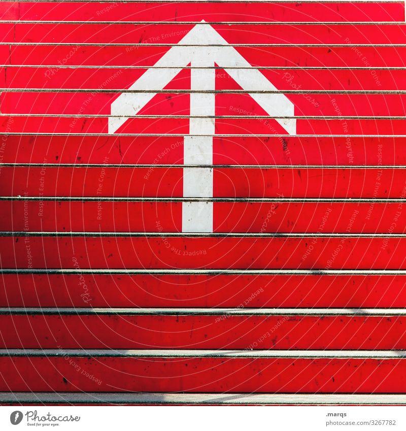 Aufstieg Neugier Business Ziel erste Hoffnung positiv Zukunft Richtung Beginn aufwärts Wachstum Optimismus rot Pfeil Schilder & Markierungen Zeichen Treppe