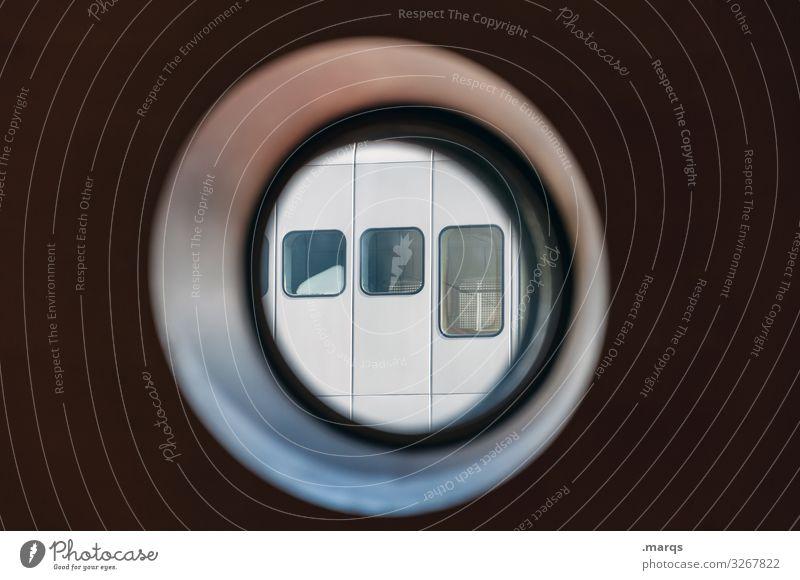 Guckloch rund Fenster Strukturen & Formen Glas Metall Kreis Fensterscheibe Architektur Stil Fassade Bullauge Perspektive modern