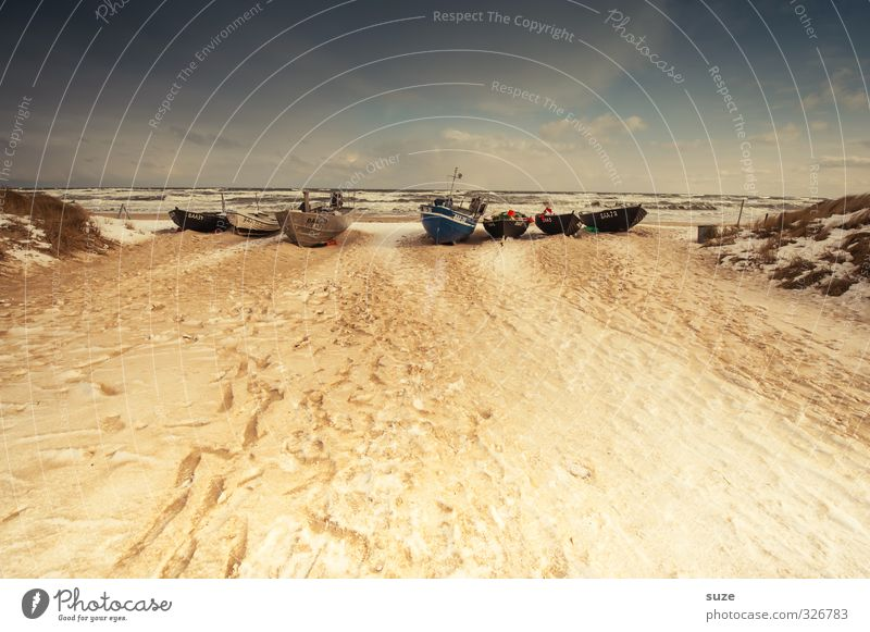 Die glorreichen Sieben Himmel Natur Ferien & Urlaub & Reisen alt Meer Einsamkeit Landschaft ruhig Strand Winter Ferne Schnee Freiheit Küste Sand Horizont