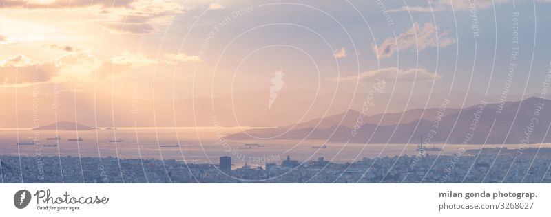 Athen Insel Berge u. Gebirge Stimmung Europa mediterran Griechenland Attika Piräus Salamina Lycabettus Stadtbild Großstadt urban Vientiane Sonnenuntergang