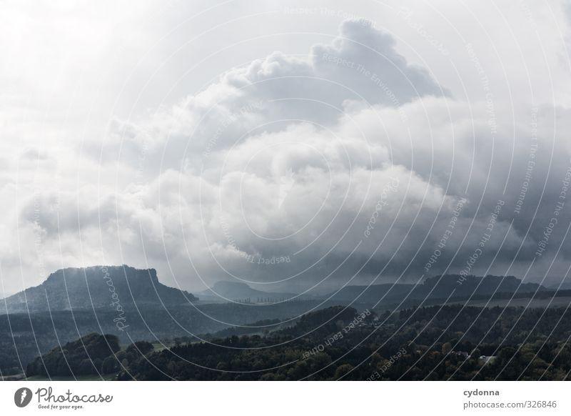 Weites Land Natur Ferien & Urlaub & Reisen Sommer Landschaft ruhig Wolken Ferne dunkel Wald Umwelt Berge u. Gebirge Freiheit Horizont Felsen Idylle Tourismus