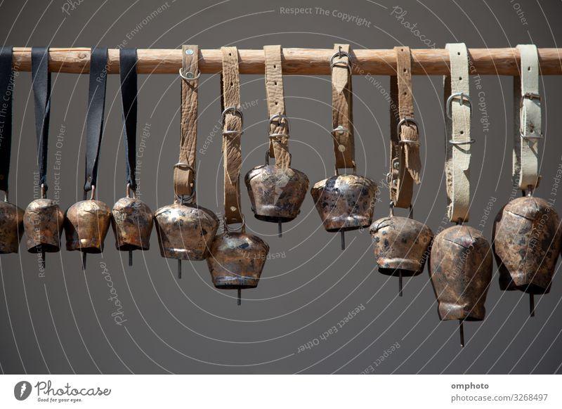 Kupferglocken, verschiedene Größen auf einem Holzstab Ring Büchse Metall hängen Klingel Tierglocke kupfer selbstgemacht Bauernhof Viehbestand Ackerbau Klang