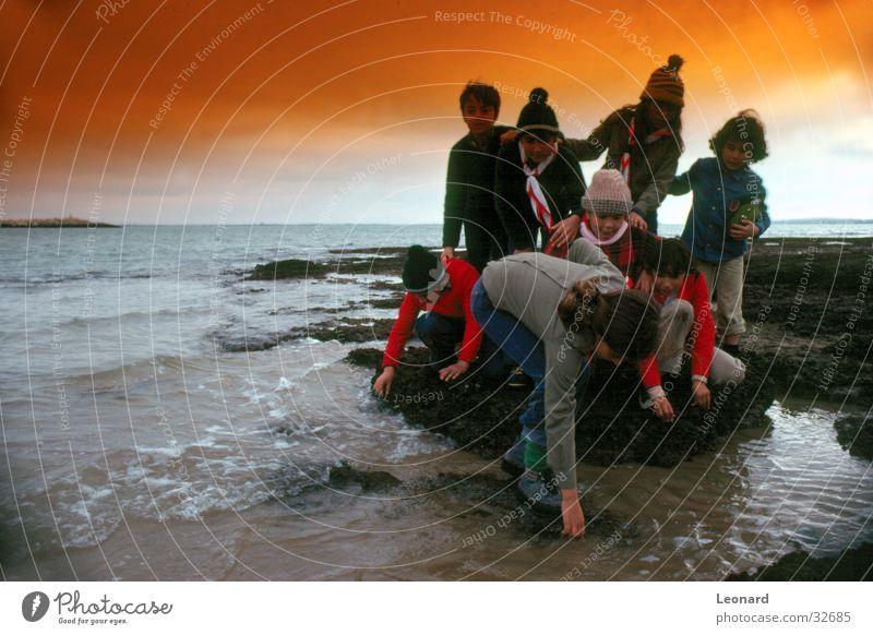 Kinder 'on the rocks' Mensch Kind Wasser Mädchen Himmel Meer Strand Farbe Junge Menschengruppe Wellen Felsen Hut