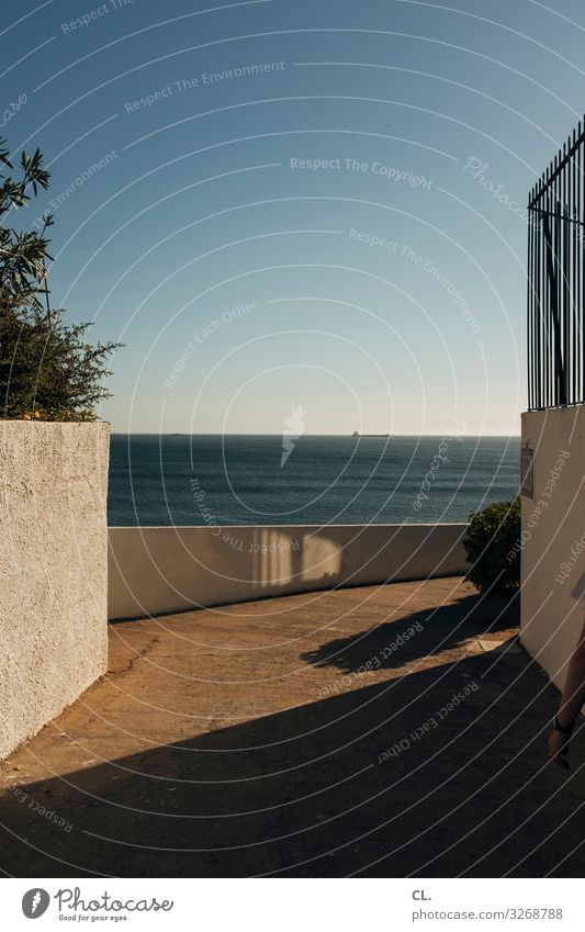 ins blau Ferien & Urlaub & Reisen Ferne Freiheit Sommer Sommerurlaub Meer Himmel Wolkenloser Himmel Schönes Wetter Portugal Mauer Wand Wege & Pfade Erholung
