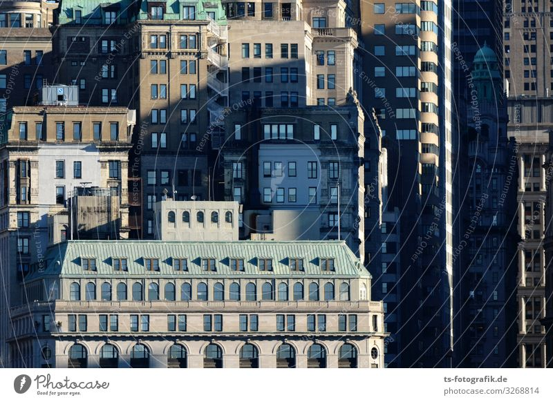 Zuviel Stadt macht Horizont platt New York City Manhattan Financial District Financial District Manhattan USA Stadtzentrum Skyline Haus Hochhaus Bankgebäude