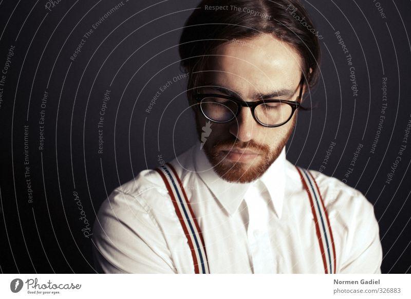 Brillenschlange Mensch Jugendliche schön Gesicht Erwachsene Junger Mann 18-30 Jahre Business maskulin nachdenklich Erfolg ästhetisch lernen Macht Bildung