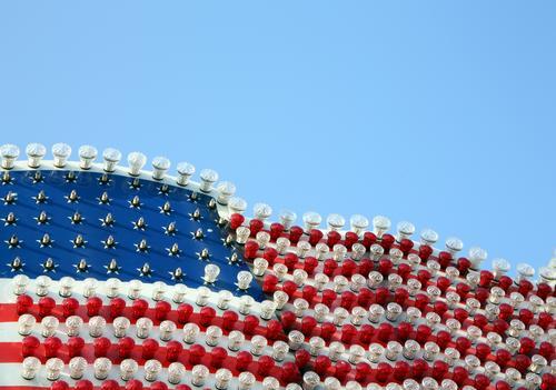 US Rummel Ferien & Urlaub & Reisen weiß rot Tourismus Freiheit Abenteuer USA Zukunft Fahne Wolkenloser Himmel Stars and Stripes Konflikt & Streit Jahrmarkt