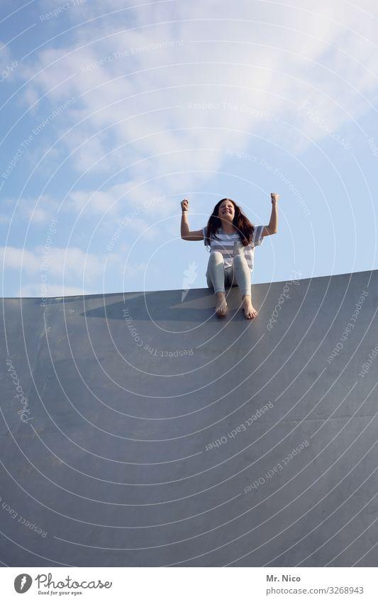 kraftpaketchen Freizeit & Hobby Spielen Sport Fitness Sport-Training Erfolg feminin Mädchen Arme 1 Mensch Schönes Wetter langhaarig sitzen Freude Glück
