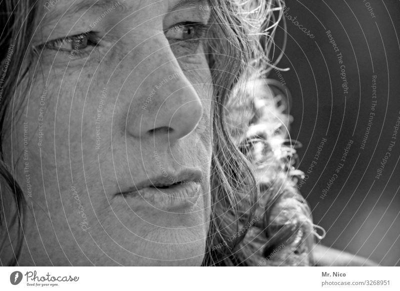 nah dran Frau Mensch schön ruhig Gesicht Auge Erwachsene natürlich feminin Zufriedenheit nachdenklich authentisch einzigartig Mund beobachten Nase