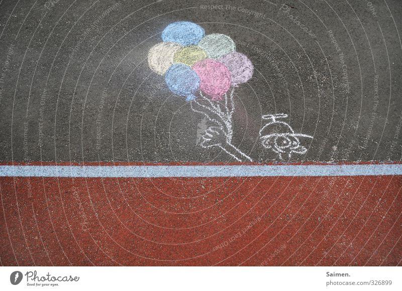 luftballon, eis, lutscher... was immer es auch sein soll Verkehrswege Straße Wege & Pfade Kindheit Kreativität gemalt Kreide Kreidezeichnung Comicfigur