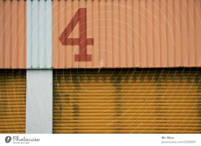4 gewinnt Tor Gebäude Mauer Wand Fassade Tür gelb gold orange rot Lagerhalle Lagerhaus Arbeitsplatz Handel Güterverkehr & Logistik geschlossen Rolltor
