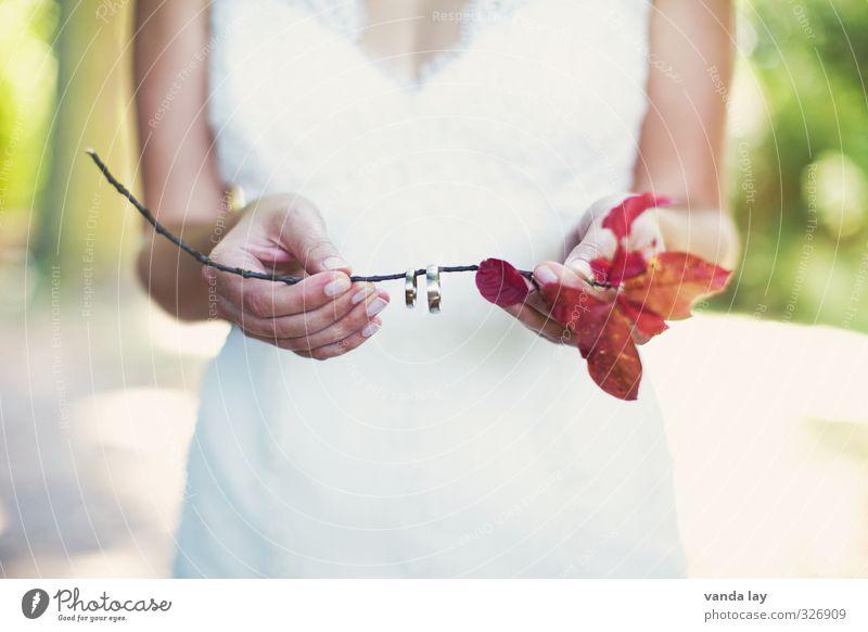 Hochzeit feminin Junge Frau Jugendliche Hand 18-30 Jahre Erwachsene Gold Liebe Treue Romantik Partnerschaft Kitsch Ehe Braut Ring Ehering Farbfoto Außenaufnahme