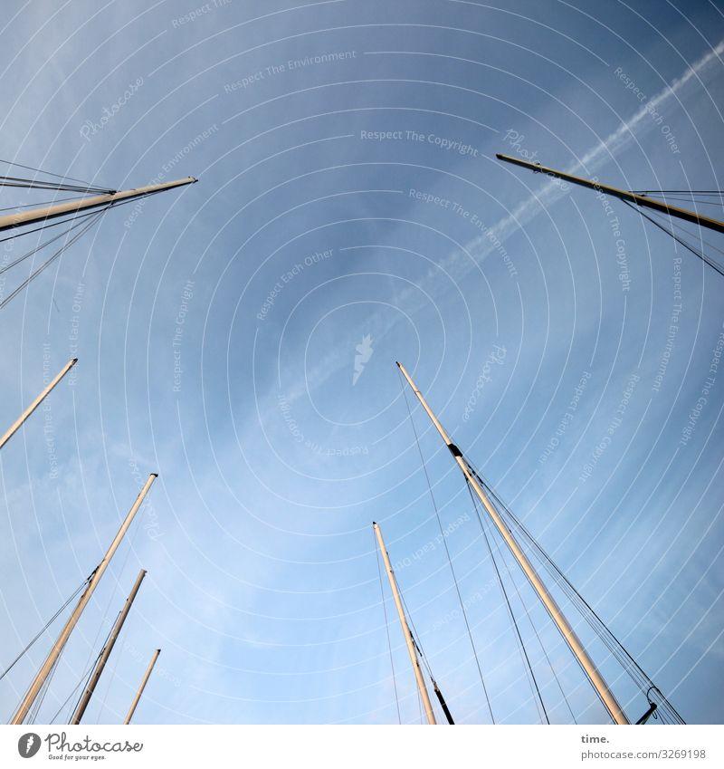 Halswirbelsäulentraining (XXVIII) Himmel Wolken Schönes Wetter Schifffahrt Segelboot Segelschiff Hafen An Bord Mast Seil Tau Stab Holz Metall Kunststoff Linie