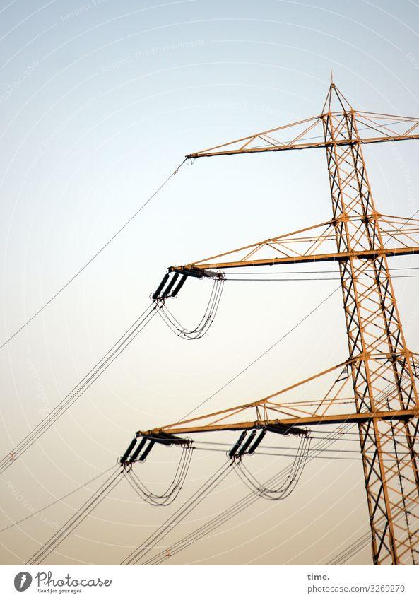 Seilschaften (IX) Technik & Technologie Energiewirtschaft Elektrizität Strommast Leitung Hochspannungsleitung Himmel Schönes Wetter Metall diszipliniert