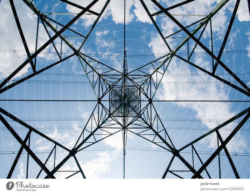 Hochspannung unter Strommast Energiewirtschaft Himmel Wolken Schönes Wetter eckig hoch lang viele kompetent komplex Mittelpunkt Ordnung Qualität Sicherheit