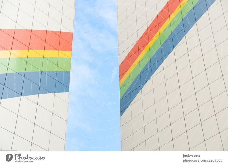 Regen Bogen Himmel Schönes Wetter Stadthaus Fassade Brandmauer Dekoration & Verzierung Regenbogen Fassadenverkleidung Linie Streifen eckig fest oben positiv