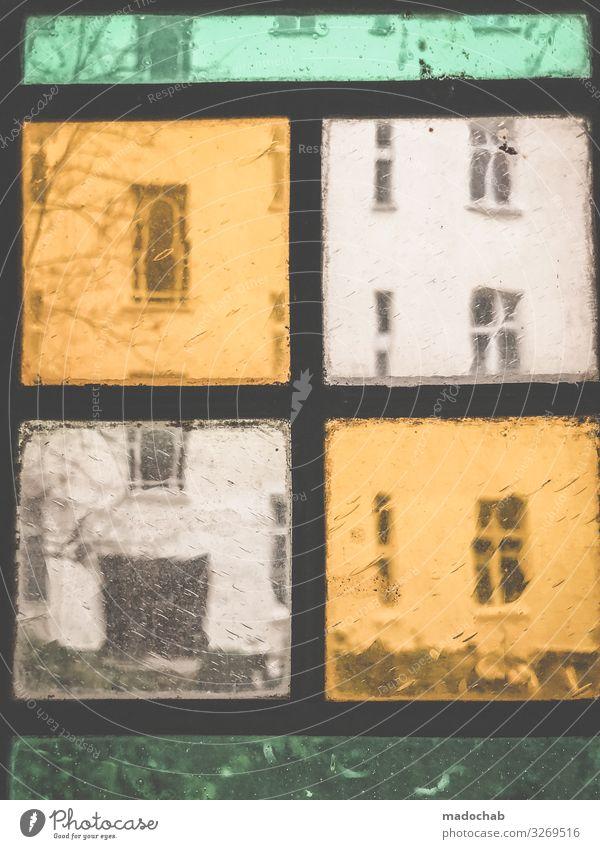 Das Fenster zum Hof Berlin Haus Bauwerk Gebäude Architektur Fassade ästhetisch retro trashig trist Stadt orange türkis Symmetrie Strukturen & Formen mehrfarbig