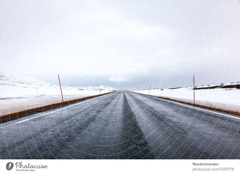 Frühling am Polarkreis Ferien & Urlaub & Reisen Abenteuer Ferne Freiheit Winter Schnee Landschaft Wolken Klima Wetter Eis Frost Hügel Verkehr Verkehrswege
