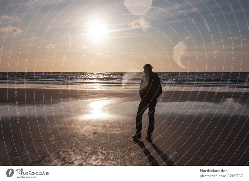 Sehnsucht nach Meer harmonisch Sinnesorgane Erholung ruhig Ferien & Urlaub & Reisen Tourismus Ferne Sommerurlaub Strand Mensch maskulin Mann Erwachsene Natur