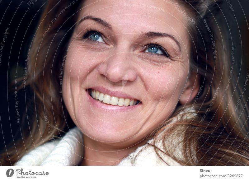 200 feminin Frau Erwachsene 30-45 Jahre Pullover Rollkragenpullover brünett langhaarig Kommunizieren Lächeln lachen sprechen Freundlichkeit Fröhlichkeit Glück
