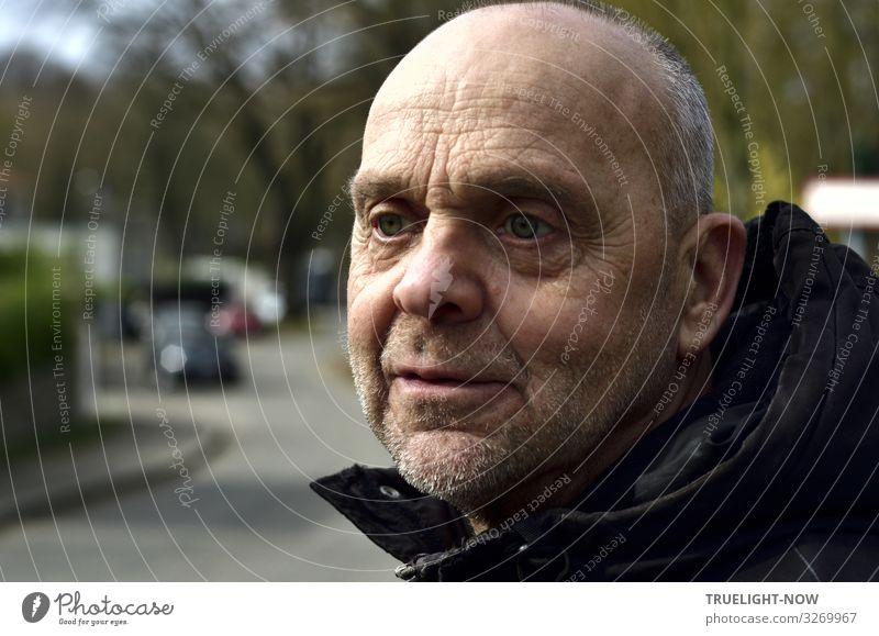 Nachdenklicher Mann im Halbprofil, draußen harmonisch Erholung ruhig Ferne Mensch Männlicher Senior Kopf Gesicht Auge Nase Mund 60 und älter Frühling Baum