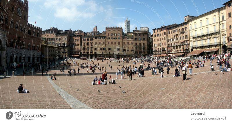 Campo di Siena Stadt Völker Mensch Taube Platz Palast Italien Europa Mittelalter Turm place palace sun