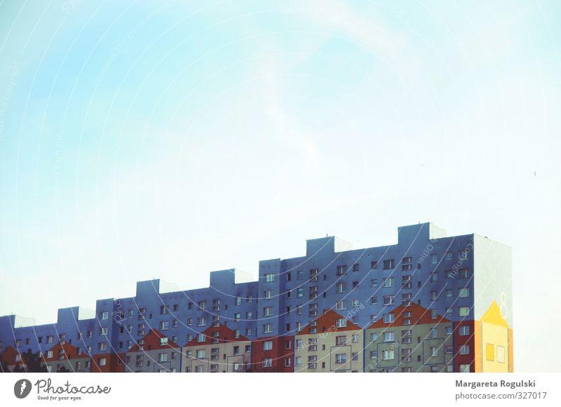 Hochhaus Stadt Stadtzentrum Stadtrand Skyline Haus Gebäude Architektur Beton Armut außergewöhnlich dreckig Fröhlichkeit hässlich hoch einzigartig kaputt Kitsch