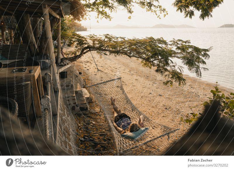 Hängematte an einem Traumstrand in Indonesien Asien Rückwärtskompatibilität Lombok Ozeanien Der geheime Gilis sonnenuntergang Strang Trockenzeit Landschaft
