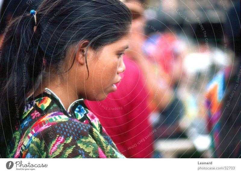 Guatemaltekisch Frau Mensch Kind Mädchen Farbe Südamerika Mittelamerika Guatemala
