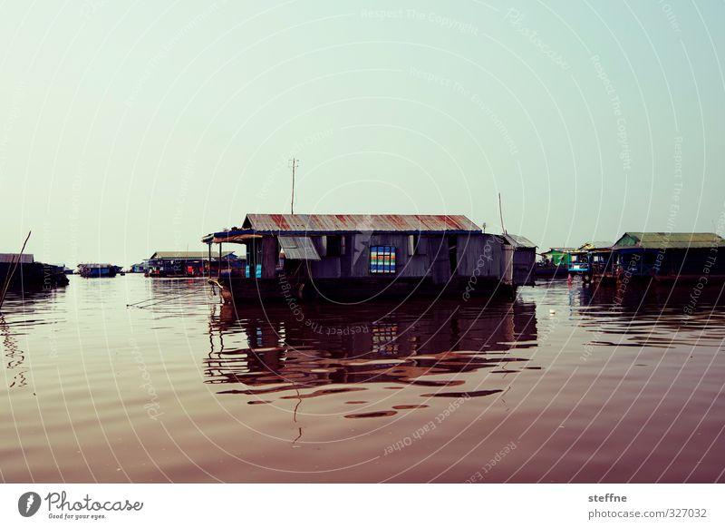 Floating Village Wasser Haus See außergewöhnlich Schönes Wetter Im Wasser treiben Fischerdorf Kambodscha Südostasien Tonle Sap See