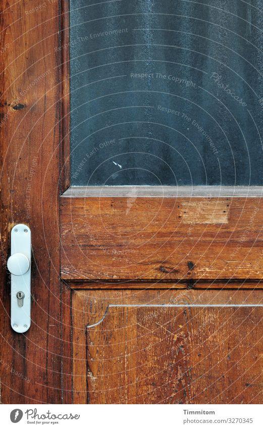 Jemand da? Haus Tür Türschloss Glasscheibe Holz Metall warten alt braun grau silber Gefühle Vergänglichkeit außer Betrieb Heidelberg Farbfoto Außenaufnahme