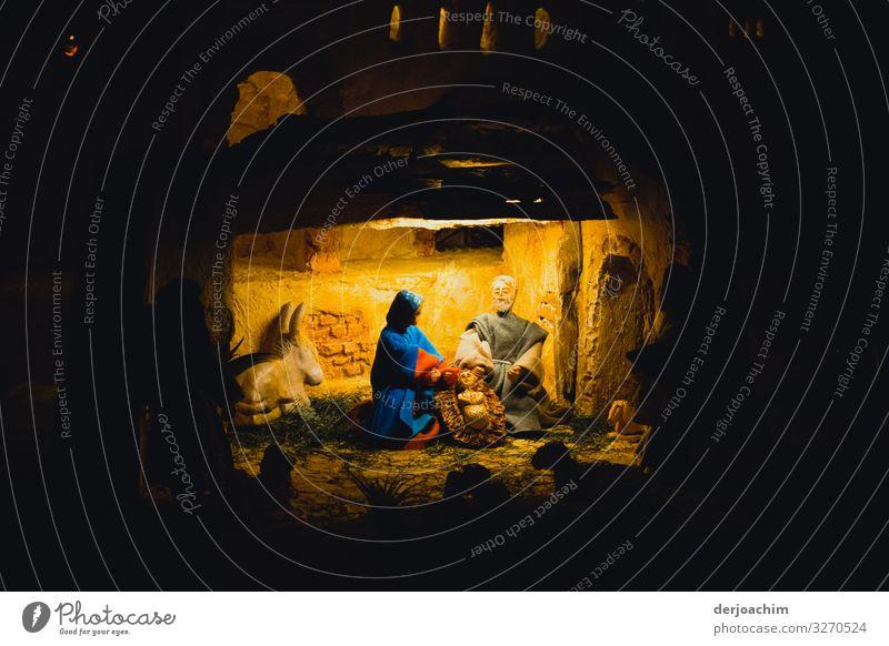 Advent Advent ( Krippe ). Der Stall mit Licht. Der Esel .  Maria und Josef vor der Krippe. Freude harmonisch Innenarchitektur 3 Mensch Kunst Ausstellung