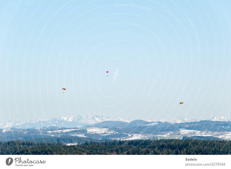 Springtime Freizeit & Hobby Freiheit Schnee Berge u. Gebirge Sport Flugsportarten Gleitschirmfliegen Mensch 3 Landschaft Wolkenloser Himmel Frühling