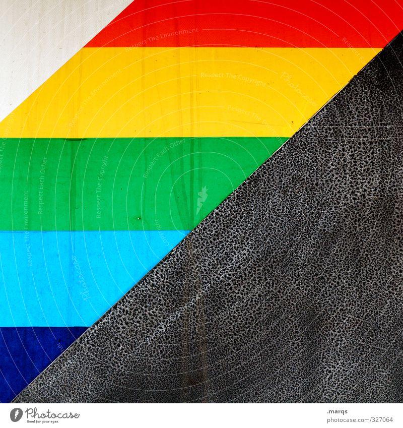 Palette Lifestyle Stil Design Mauer Wand Zeichen außergewöhnlich Coolness einfach mehrfarbig Farbe Regenbogen Farbstoff Farben und Lacke Grafik u. Illustration