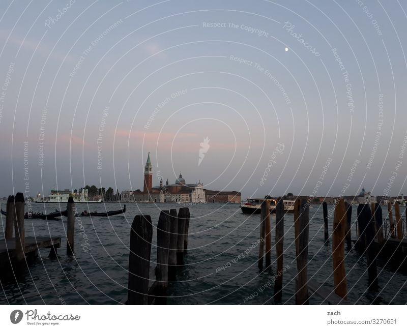Wasserseite Ferien & Urlaub & Reisen Religion & Glaube grau Kirche Italien Turm Altstadt Dom Venedig Palast Gondel (Boot) Lagune Markusplatz