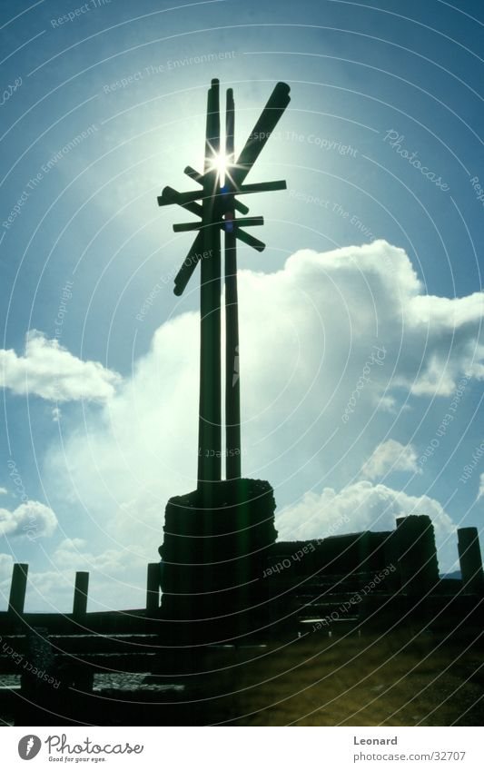 Gipfel des Vulkans Himmel Sonne Wolken Religion & Glaube Rücken Handwerk