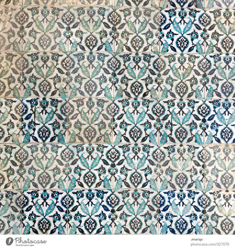 Tapete Stil Design Kunst Kultur Mauer Wand Ornament einfach blau weiß Fliesen u. Kacheln dreckig Hintergrundbild Naher und Mittlerer Osten