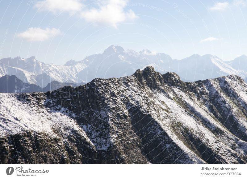 Herbst auf dem Nebelhorn Ferien & Urlaub & Reisen Tourismus Ausflug Schnee Berge u. Gebirge wandern Umwelt Natur Landschaft Himmel Schönes Wetter Felsen Alpen