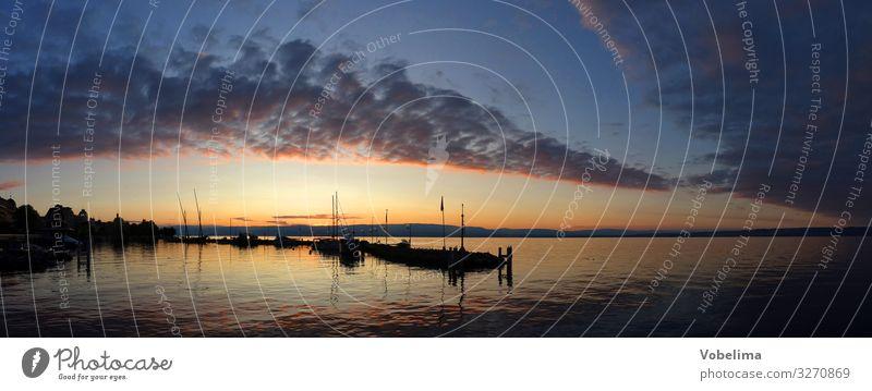 Abend am Genfer See bei Evian-les-Bains Landschaft Wasser Himmel Wolken Sonnenaufgang Sonnenuntergang Küste Seeufer lac leman Evian les bains blau mehrfarbig