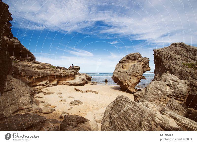 Buchteln Mensch Himmel Natur Ferien & Urlaub & Reisen Sommer Sonne Meer Landschaft Wolken Strand Ferne Umwelt Küste Freiheit Stein natürlich