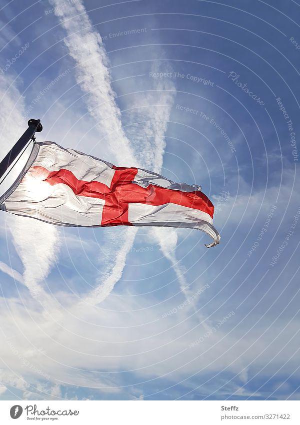 Brexit Himmel Schönes Wetter Großbritannien England Europa Zeichen Kreuz Fahne blau rot weiß Sicherheit Schutz Glaube Religion & Glaube Politik & Staat