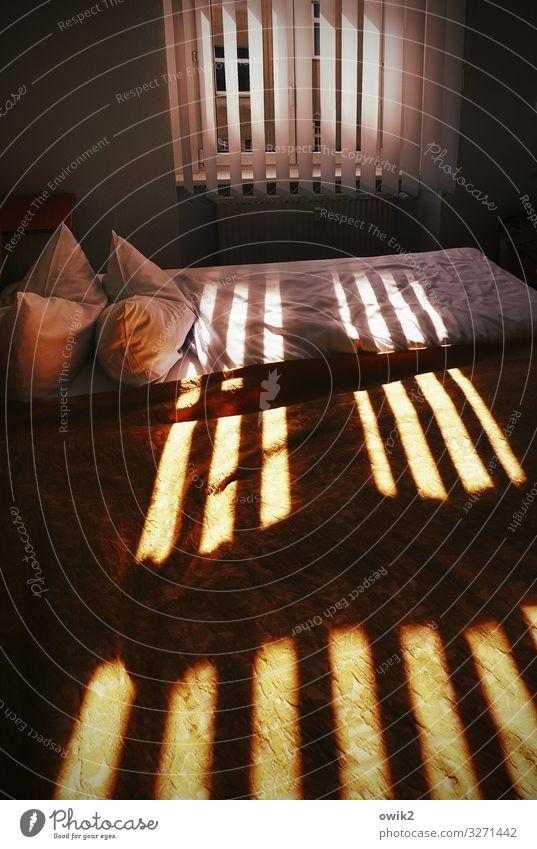 Deckenbeleuchtung Schlafzimmer Fenster Bett Bettwäsche Kissen Jalousie Lamellenjalousie leuchten Zusammensein kuschlig gemütlich Lichteinfall Linie parallel