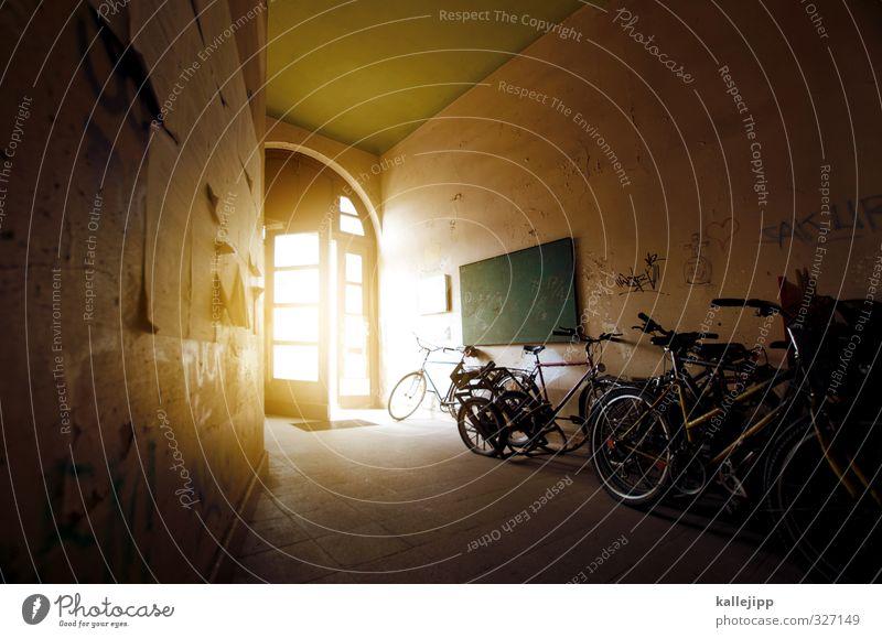 take a ride on the bright side of life Haus gelb hell Wohnung Freizeit & Hobby offen Fahrrad Verkehr Lifestyle Häusliches Leben Fahrradfahren Eingang nachhaltig