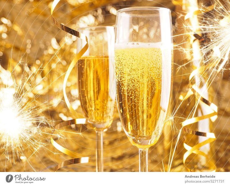 Happy New Year. Christmas and New Year holidays background Getränk Sekt Prosecco Champagner Freude Leben Veranstaltung Restaurant Feste & Feiern