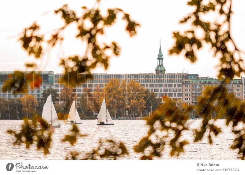 Segelboote auf dem Alstersee in Hamburg - UT Hamburg 2019 alstersee Binnenalster See Boote Ast Stadt Deutschland Hansestadt warm Wasser Herbst Herbstlaub